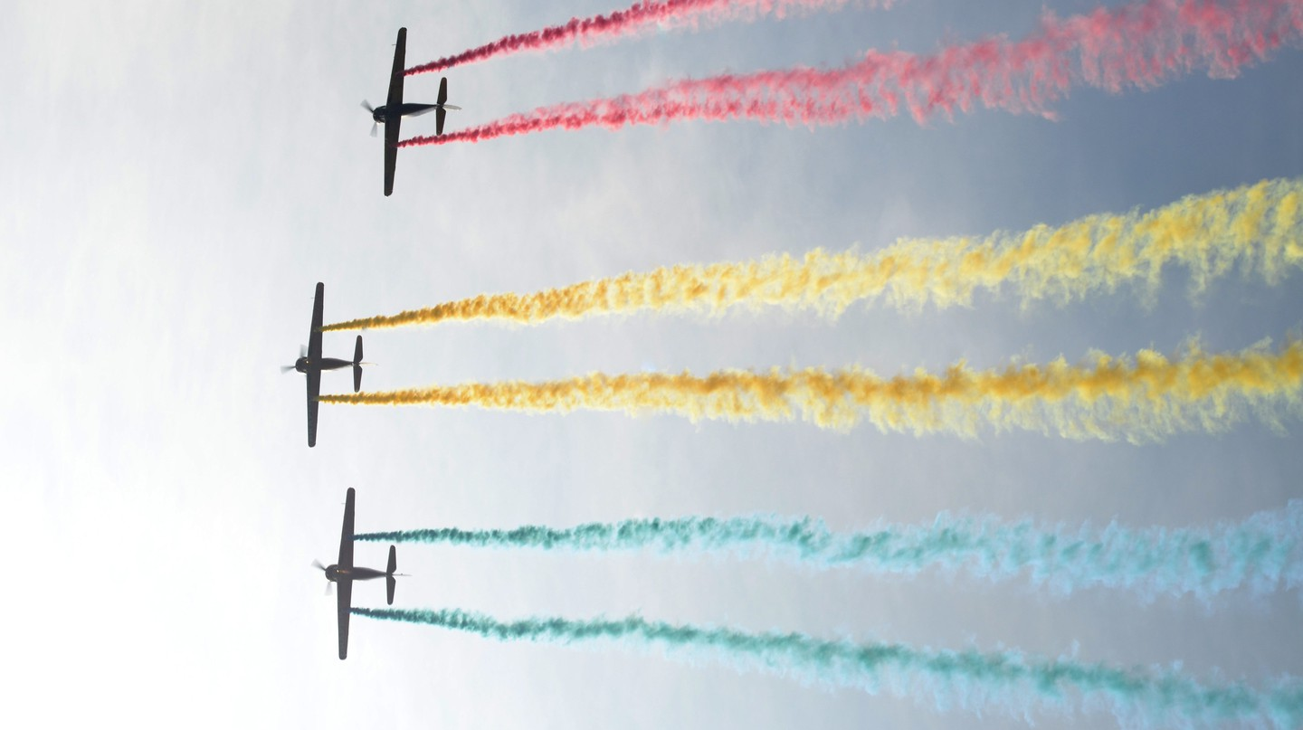 Airplanes during an air show