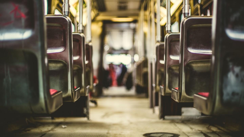 Inside a tram carriage.