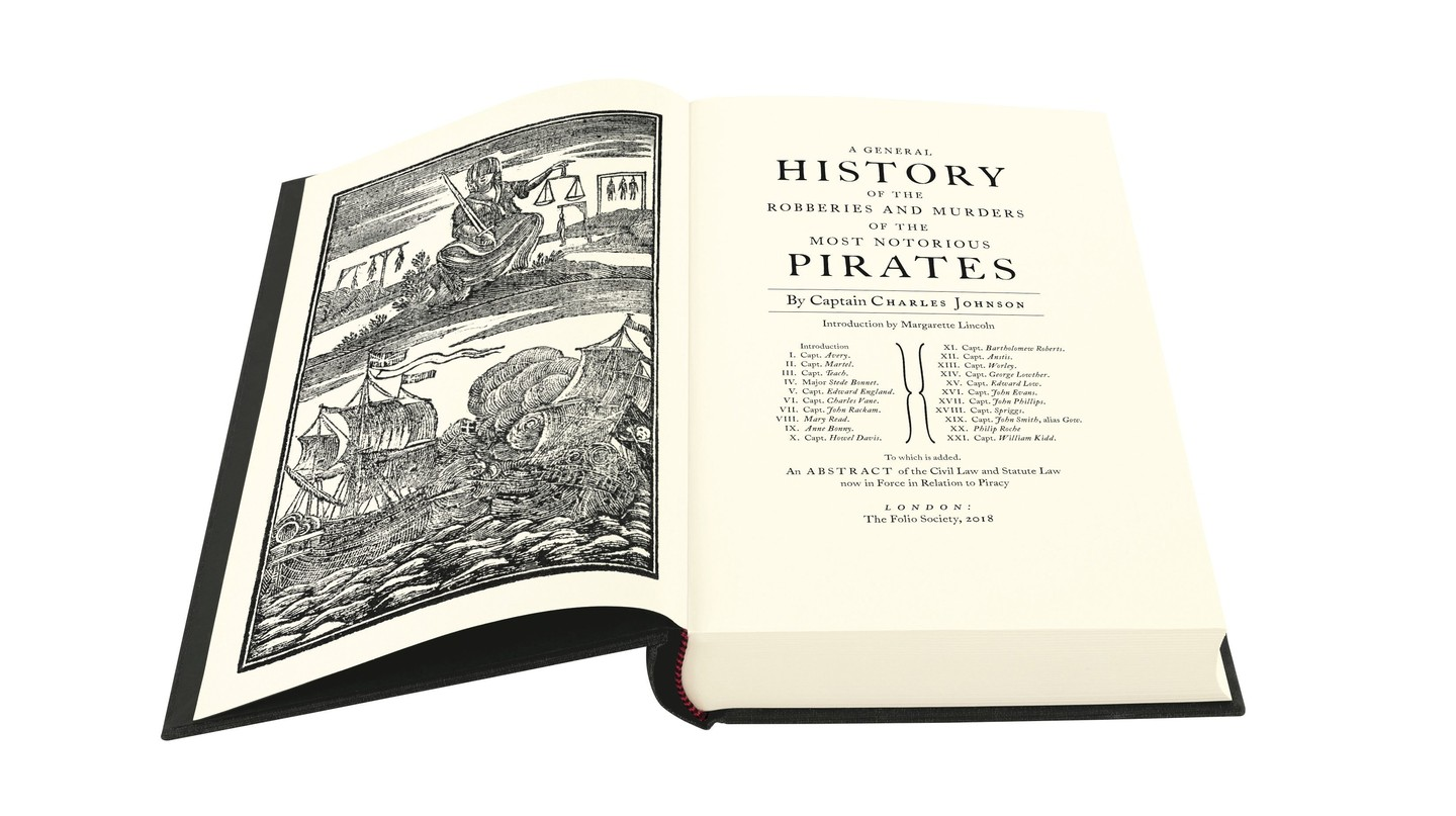 "Title page of ""A General History of the Robberies & Murders of the Most Notorious Pirates"" by Captain Charles Johnson"