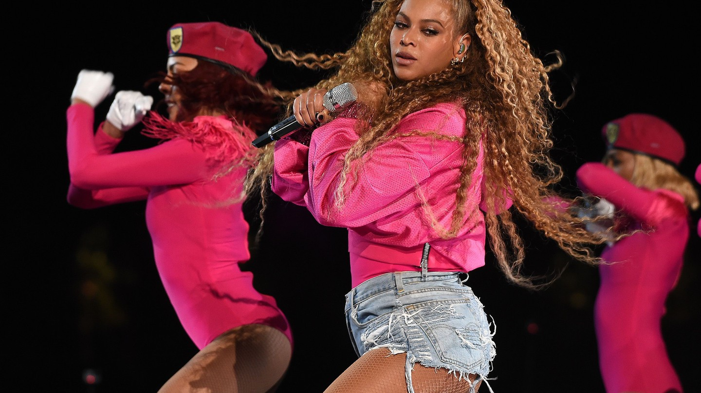 Beyonce Knowles wearing custom Balmain at Coachella Valley Music and Arts Festival