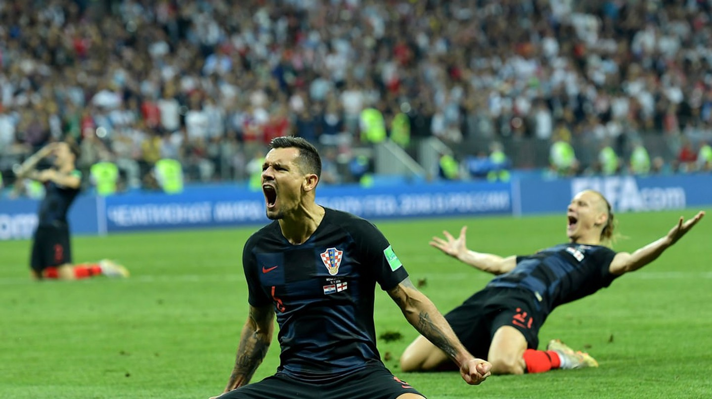 Croatia celebrate beating England in the 2018 World Cup semi-finals