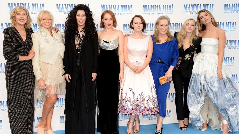 L to R, Christina Baranski, Judy Cramer, Cher, Jessica Keenan Wynn, Alexa Davies, Meryl Streep, Amanda Seyfried and Lily James 'Mamma Mia! Here We Go Again' film premiere