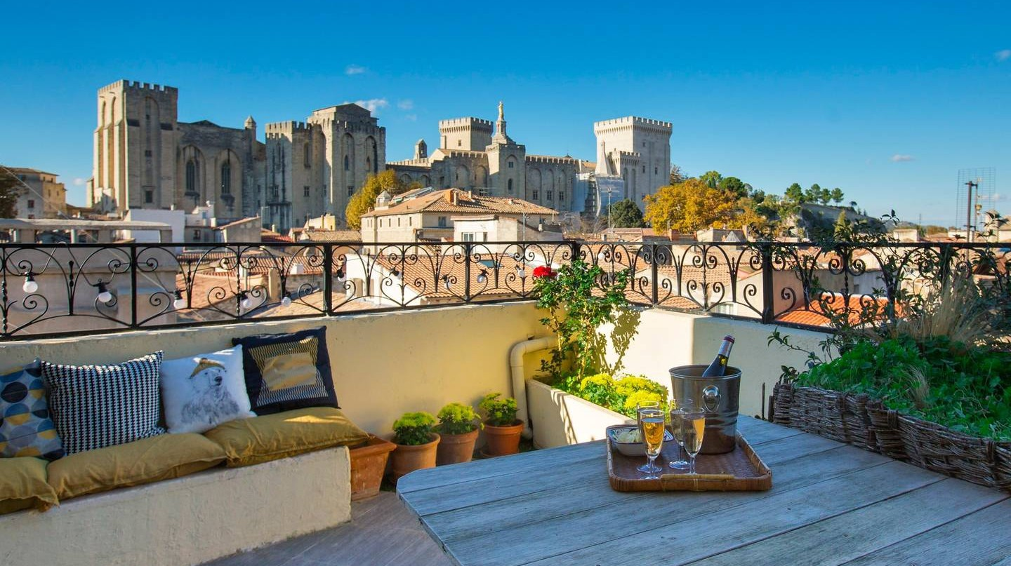 Rooftop view of the Pope's Palace in Avignon, France