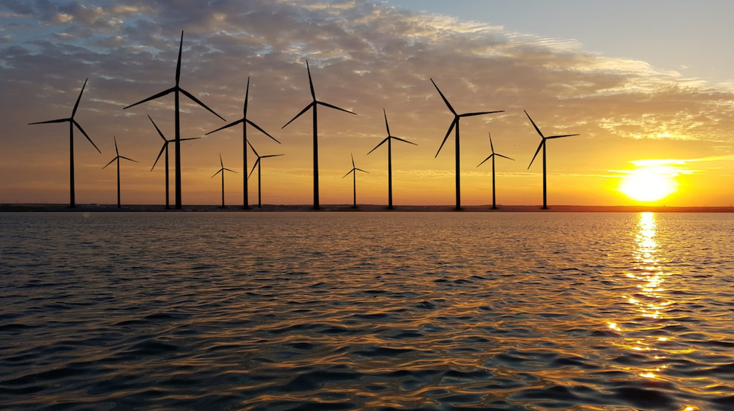 Offshore wind farms capture energy from wind out at sea.
