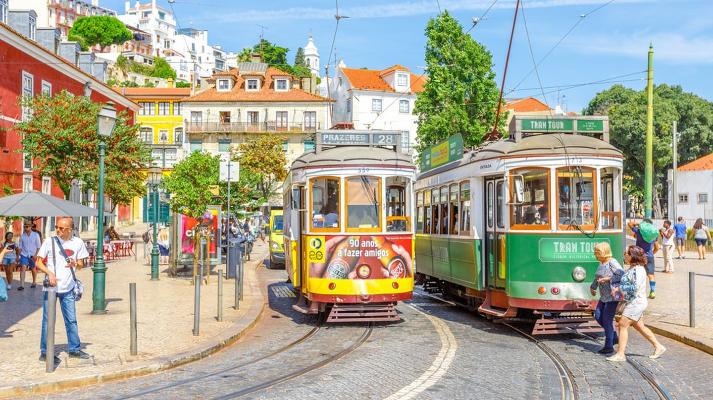 Trams in Lisbon, Portugal