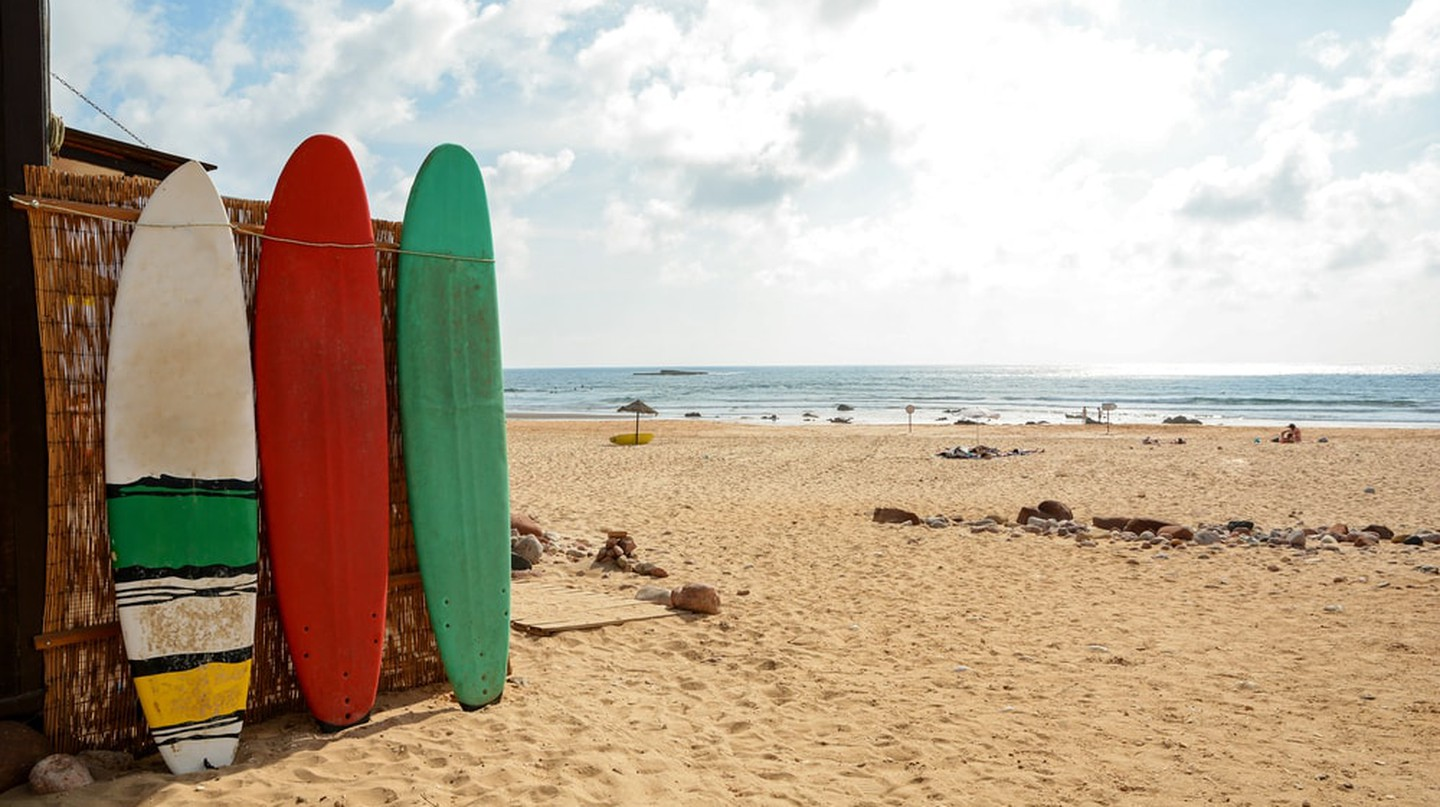 Surfboards at Praia do Amado, Algarve Portugal.