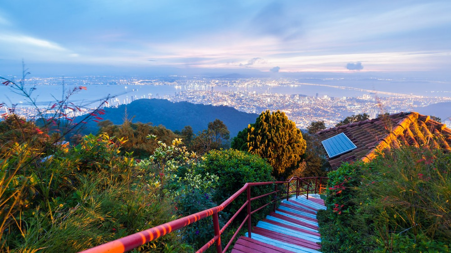 George Town City view from Penang Hill during dawn