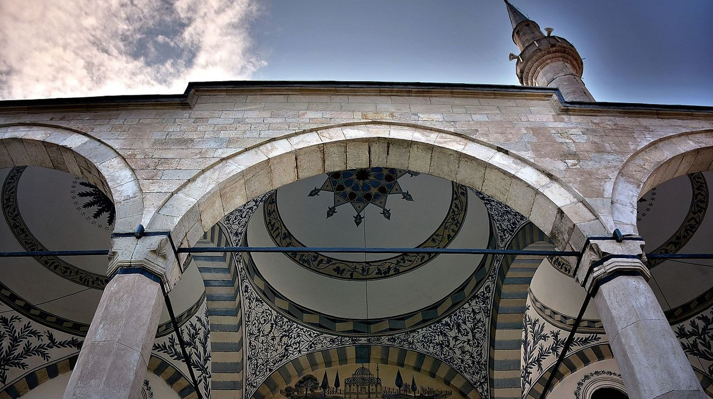 The Imperial Mosque of Pristina with the stunning frescoes and decorations