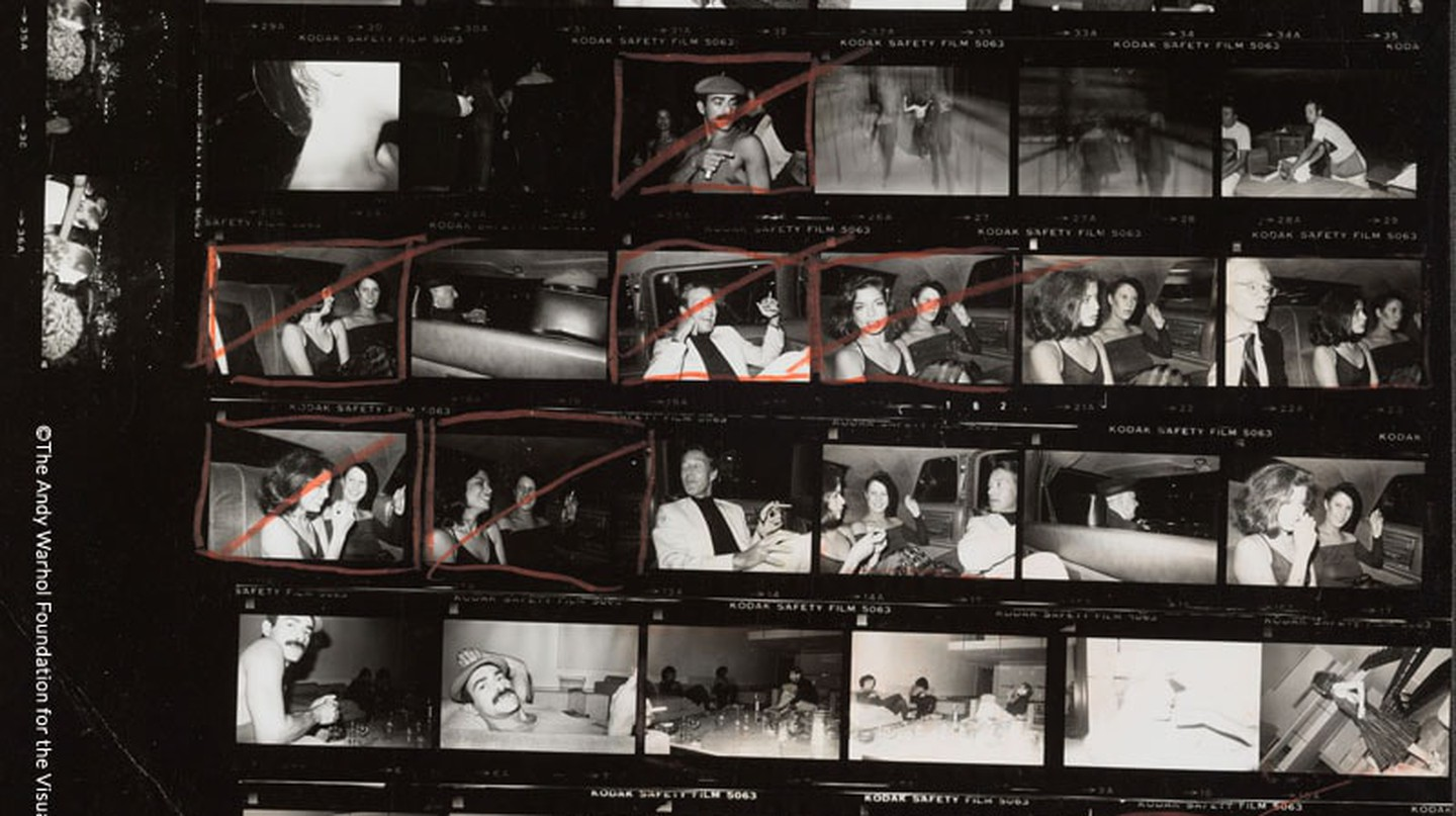 Andy Warhol, 'Contact Sheet [Andy Warhol, Bianca Jagger, Halston, Diane de Beauvau, Bethann Hardison at Elton John concert; In the back of a limousine; At Halston's apartment, Andy Warhol photographing Bianca Jagger shaving in the living room],' 1976
