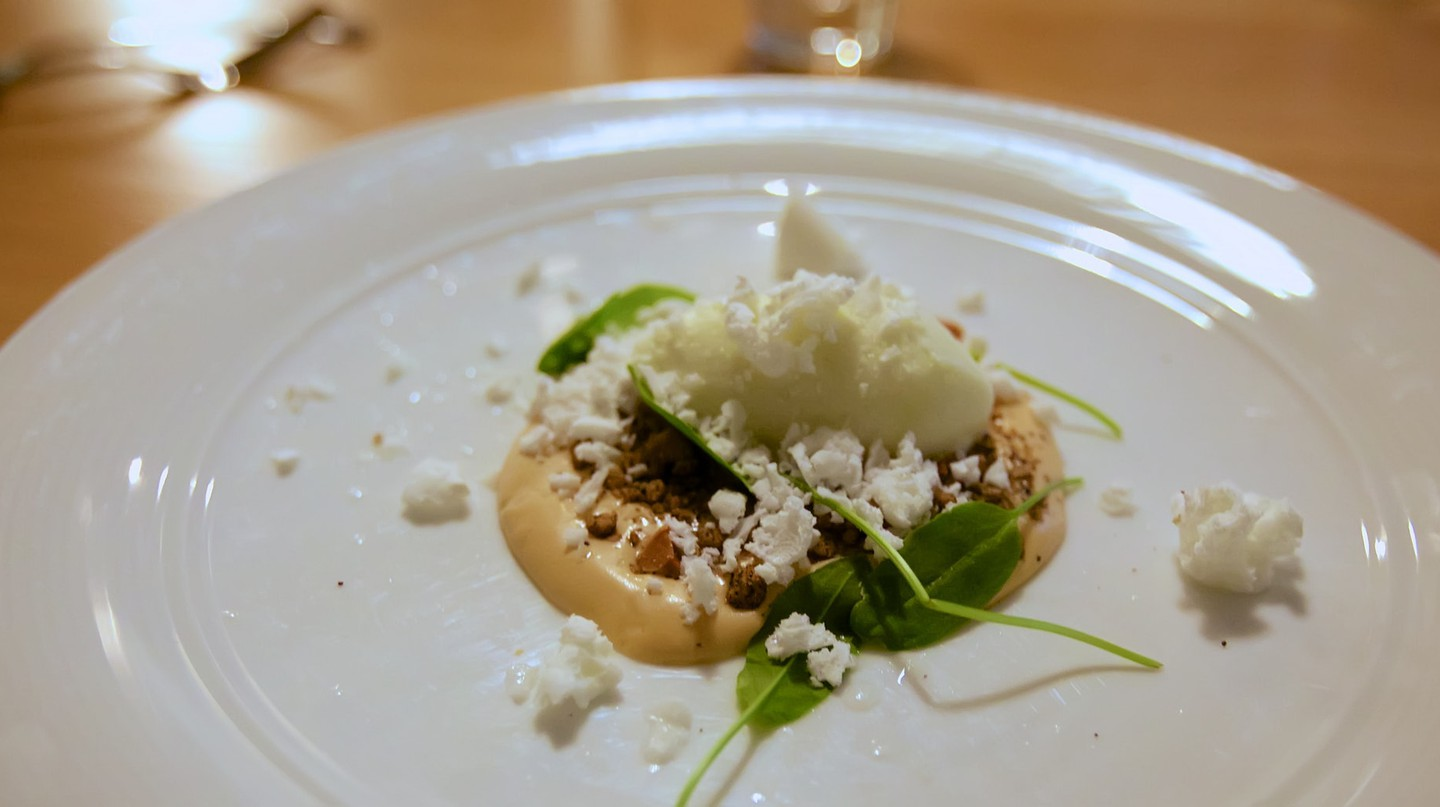 Pear sorbet with lemony snowflakes at restaurant Smör in Turku, Finland.