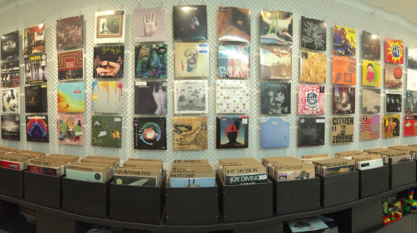 Record album display.