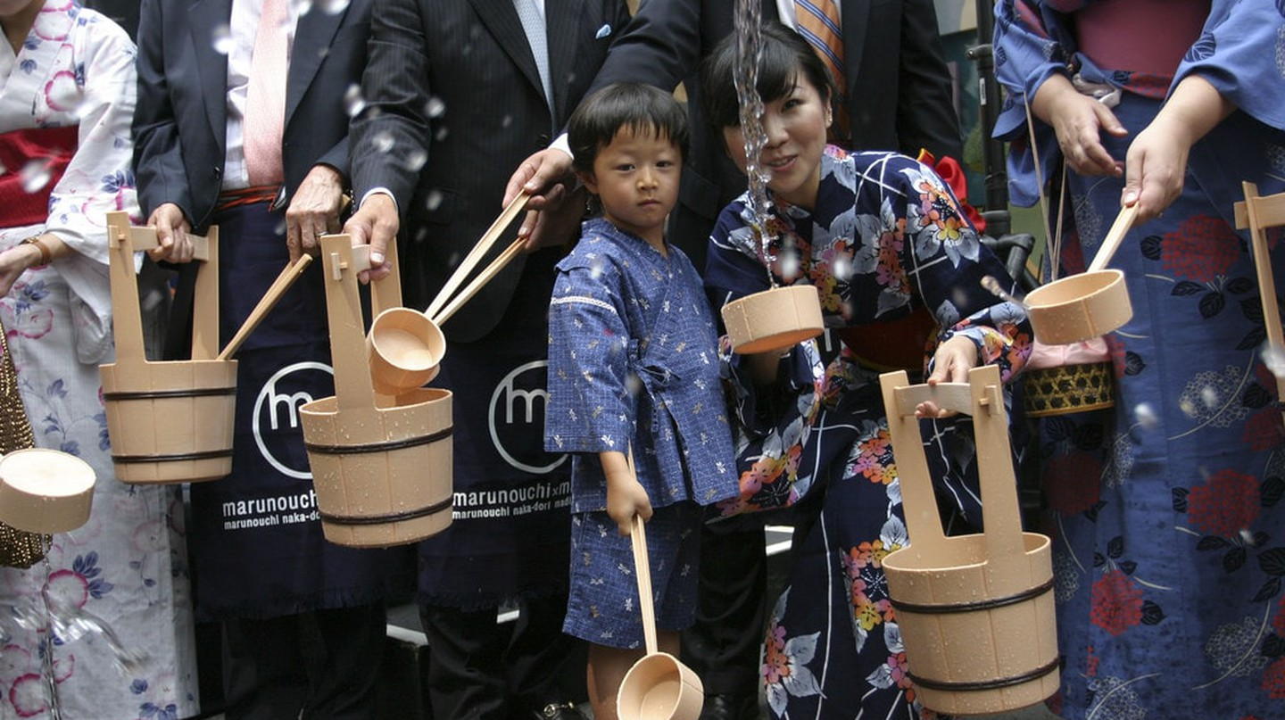 Uchimizu ceremony at a summer festival