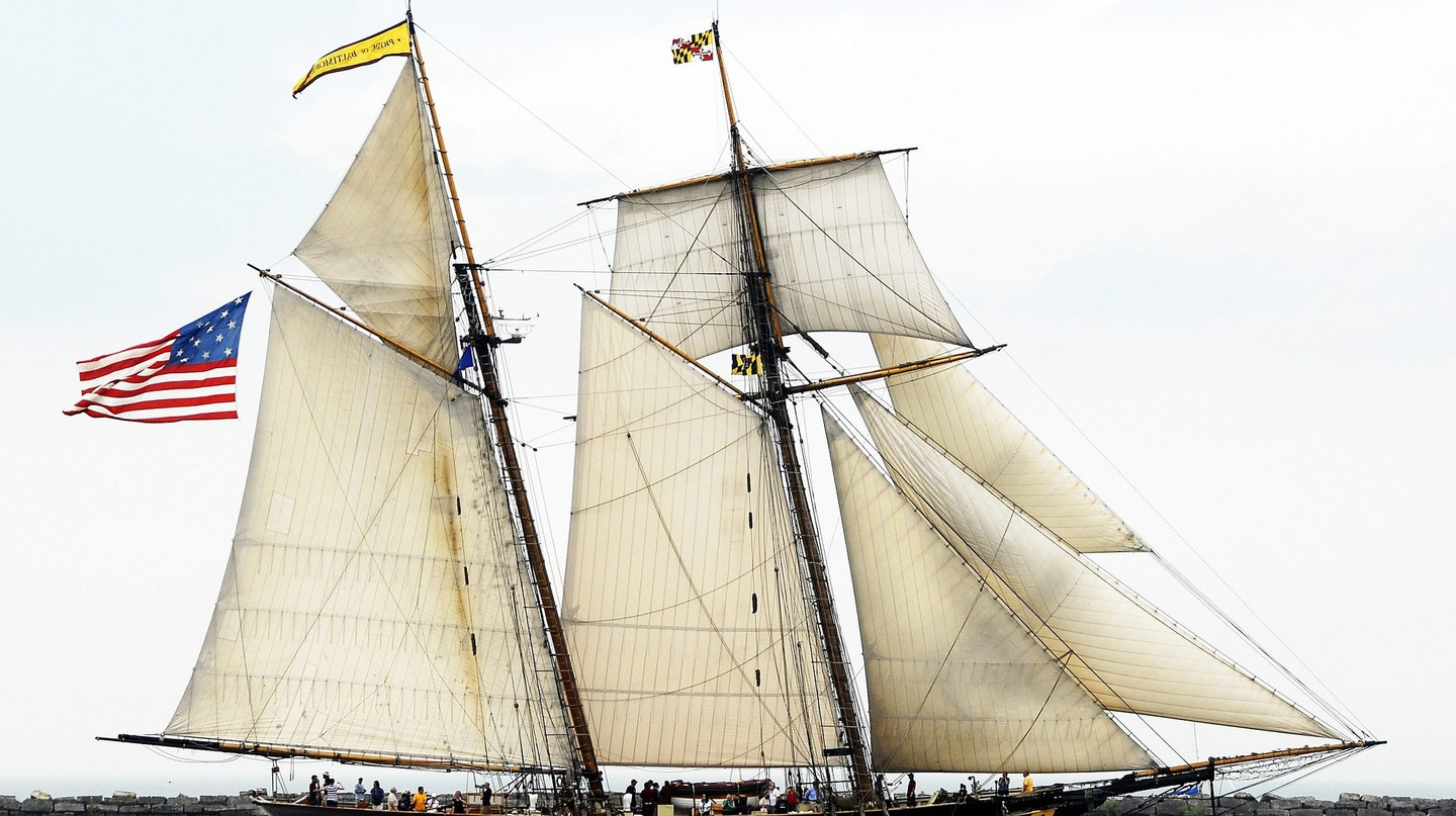 Pride of Baltimore II sails proudly at the Cleveland Tall Ships Festival.