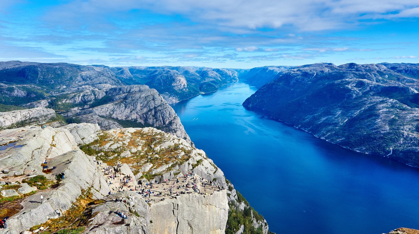 Preikestolen, or Pulpit Rock, is a very popular hike