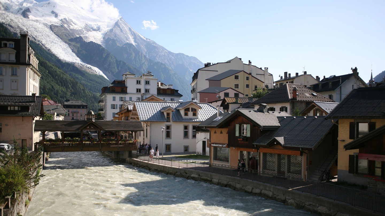 Chamonix France town centre river L'Arve