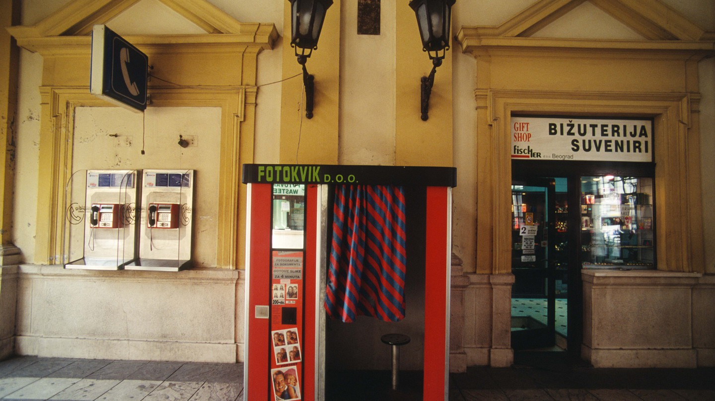Photo booth at the railway main station in Belgrade, Serbia.