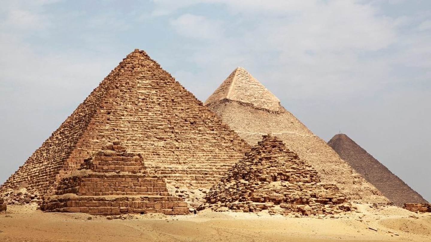 The Pyramid of Menkaure (Mycerinus), Pyramid of Khafre (Chephren) and Great Pyramid of Giza