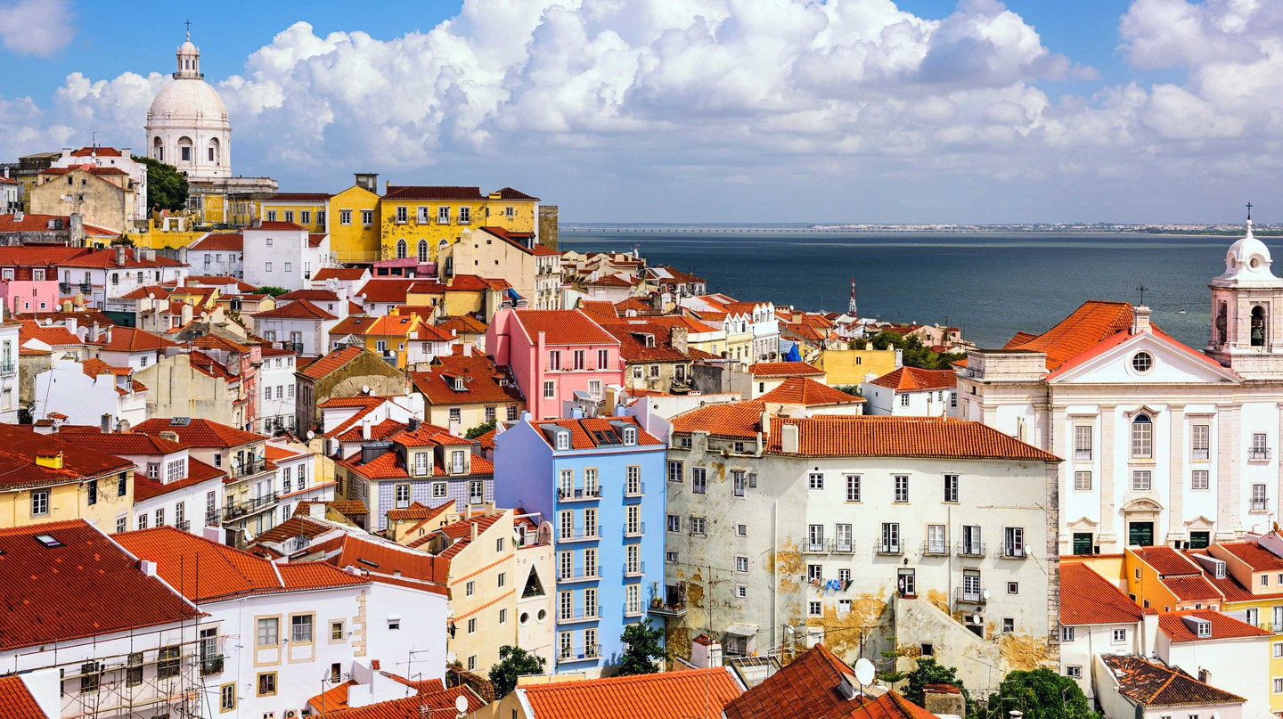 Skyline at Alfama, Lisbon, Portugal.