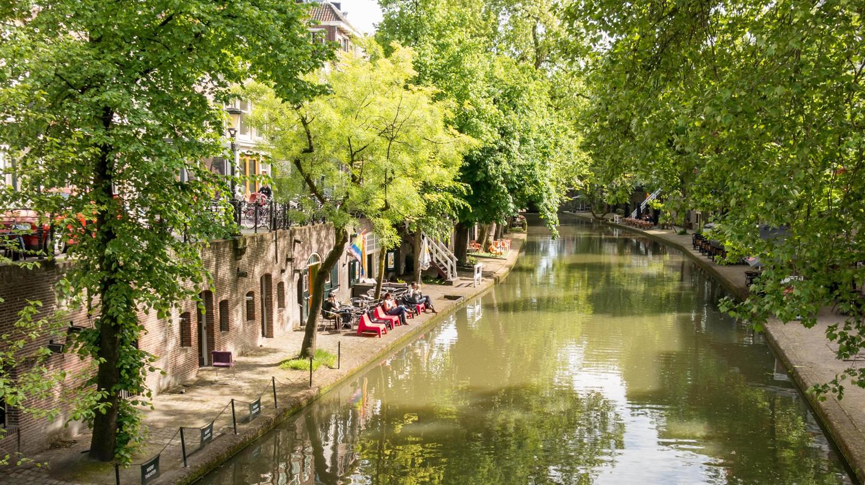Oudegracht canal in Utrecht, the Netherlands