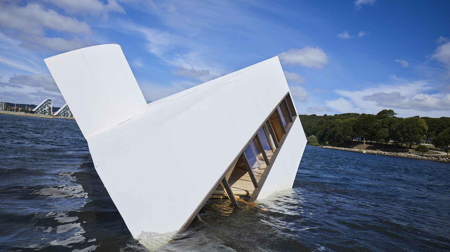 'Flooded Modernity' installed in Vejle Fjord