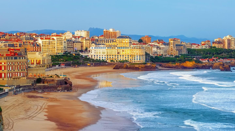 Biarritz city, Miramar and La Grande Plage, France.