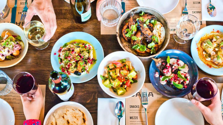 Main dishes at BABA Restaurant and Cocktail Bar in Edinburgh, Scotland