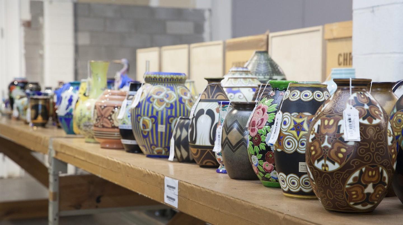 Rows of ceramic pots in Christie's Redstone warehouse