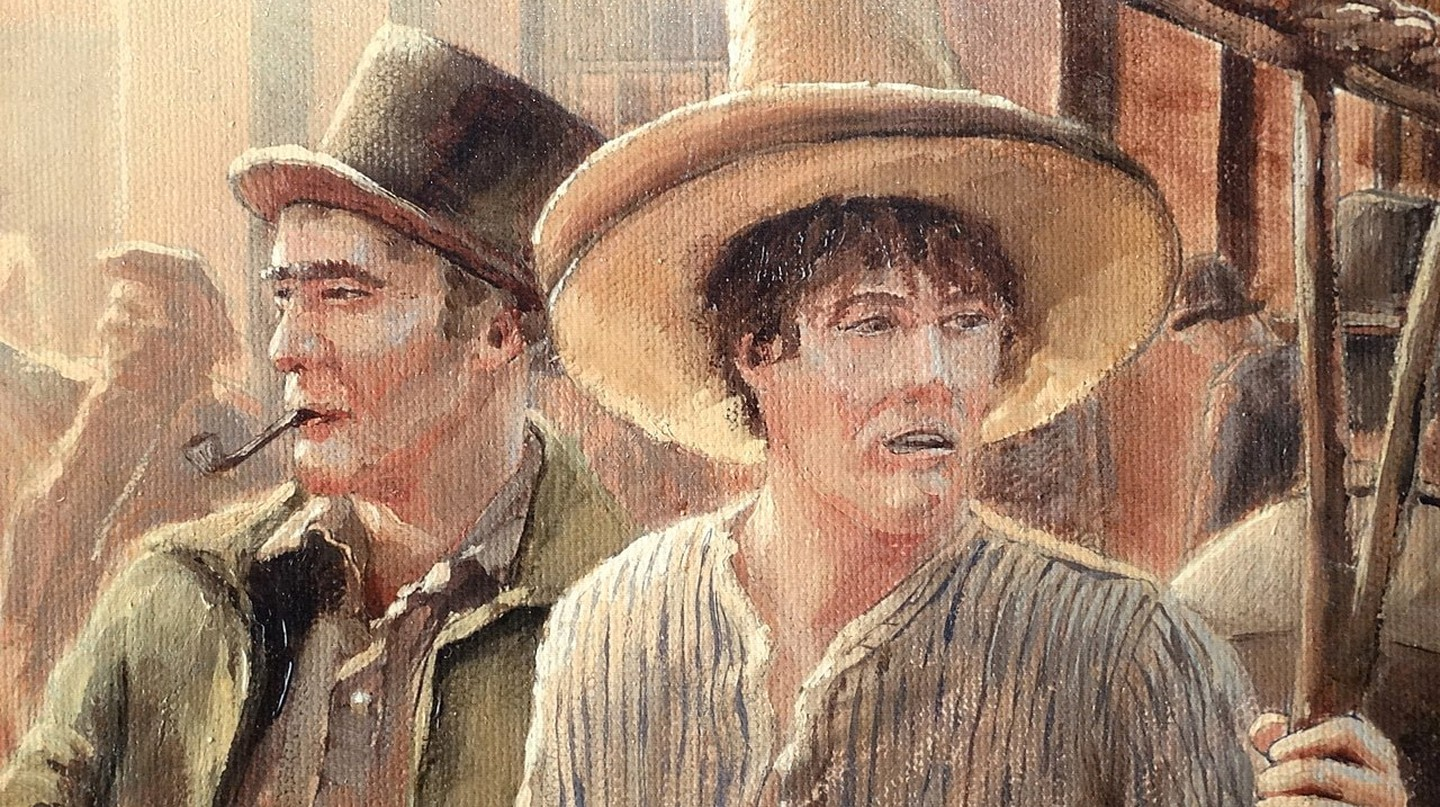 Oil painting of two British convicts in Sydney