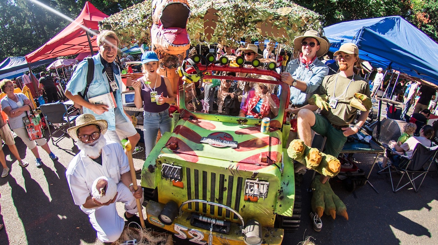 Thousands of Portlanders flood Mt. Tabor every August for the Portland Adult Soapbox Derby
