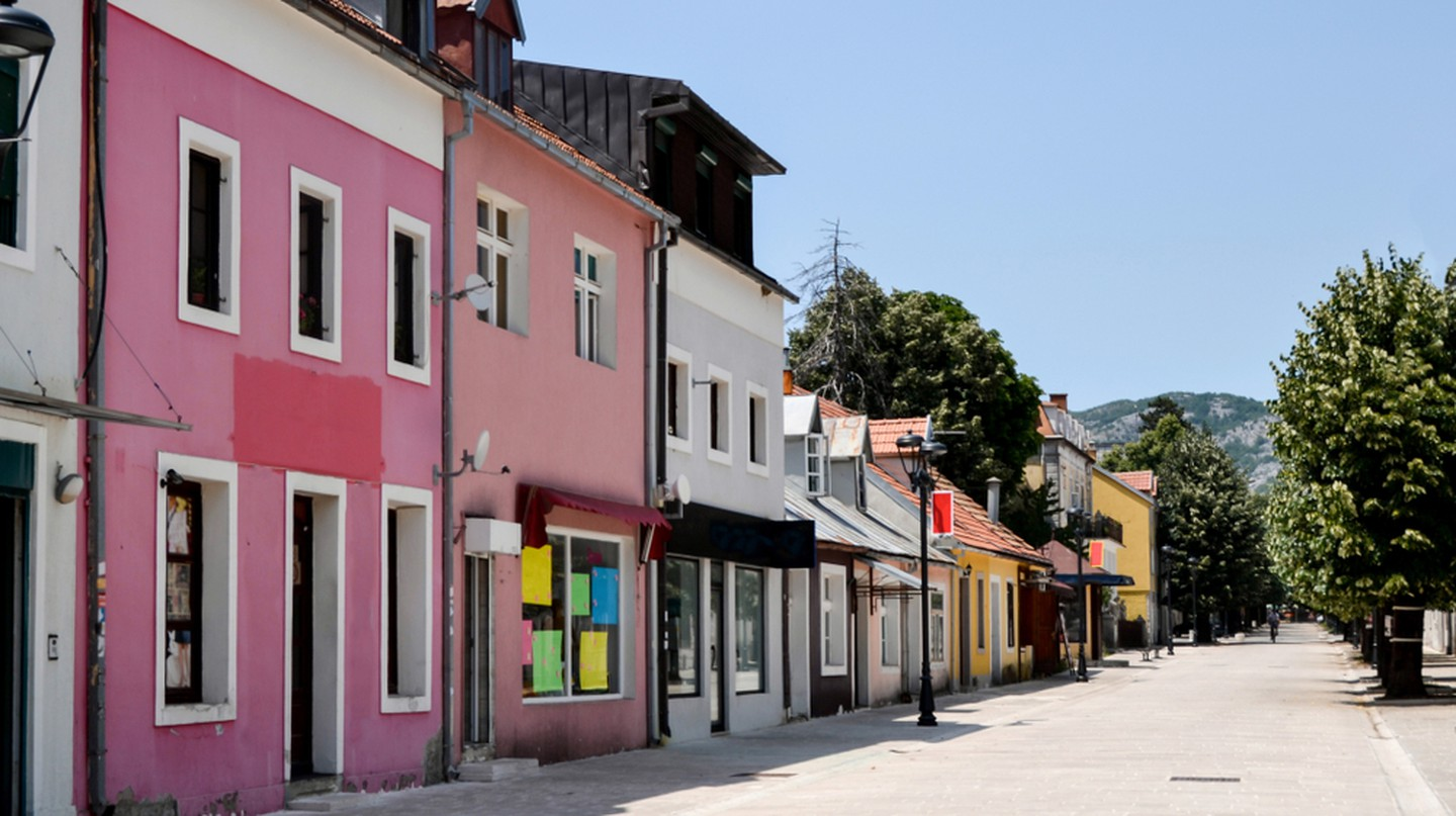 A street featuring colourful houses in Cetinje