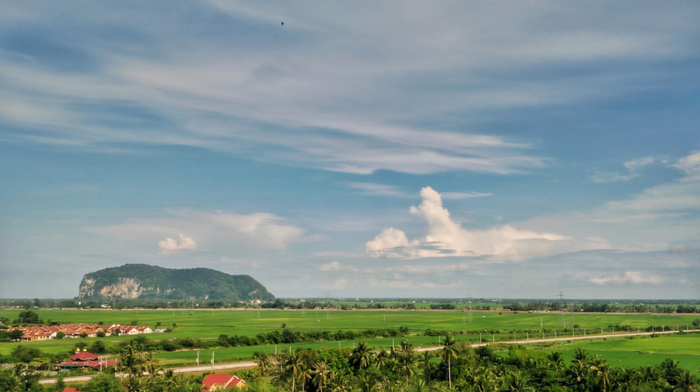 View of Gunung Keriang and paddy fields