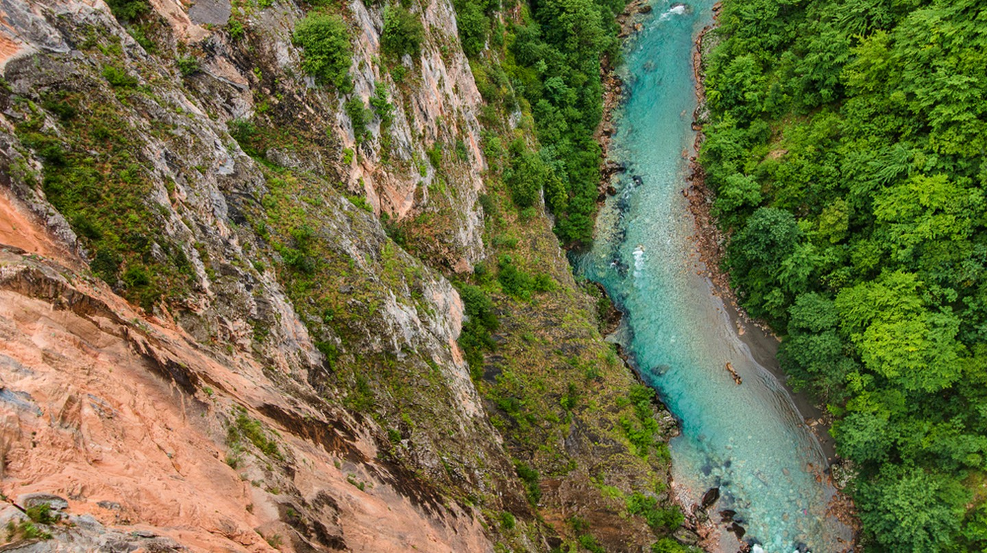 Blue Tara river and deep canyon, Montenegro, Durmitor National Park
