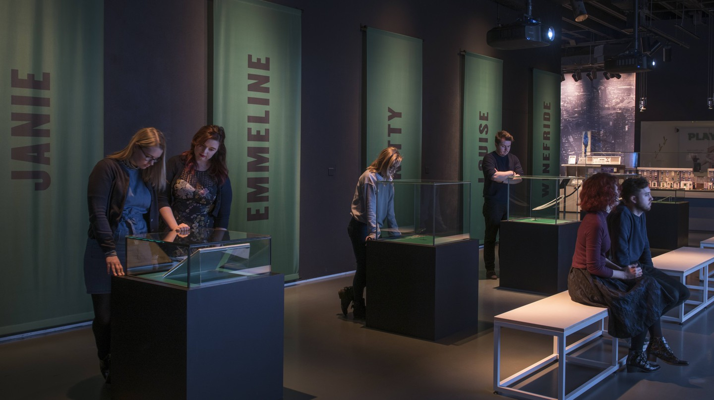 Museum of London visitors at the 'Votes for Women' exhibition