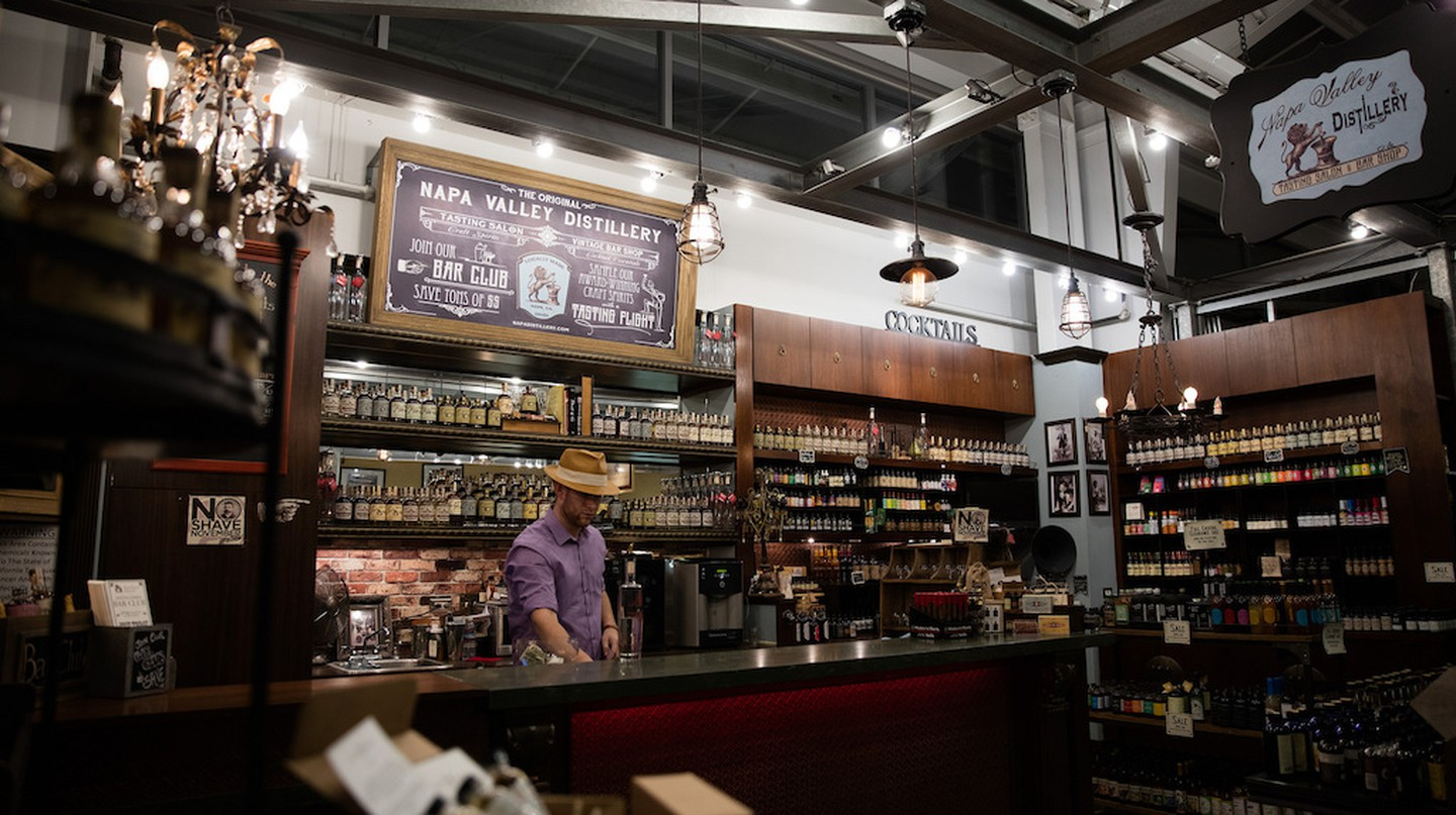 In the heart of wine country, Napa Valley Distillery operates a tasting salon and shop at Oxbow Public Market