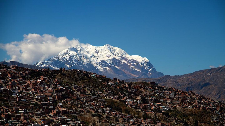 Illimani behind La Paz