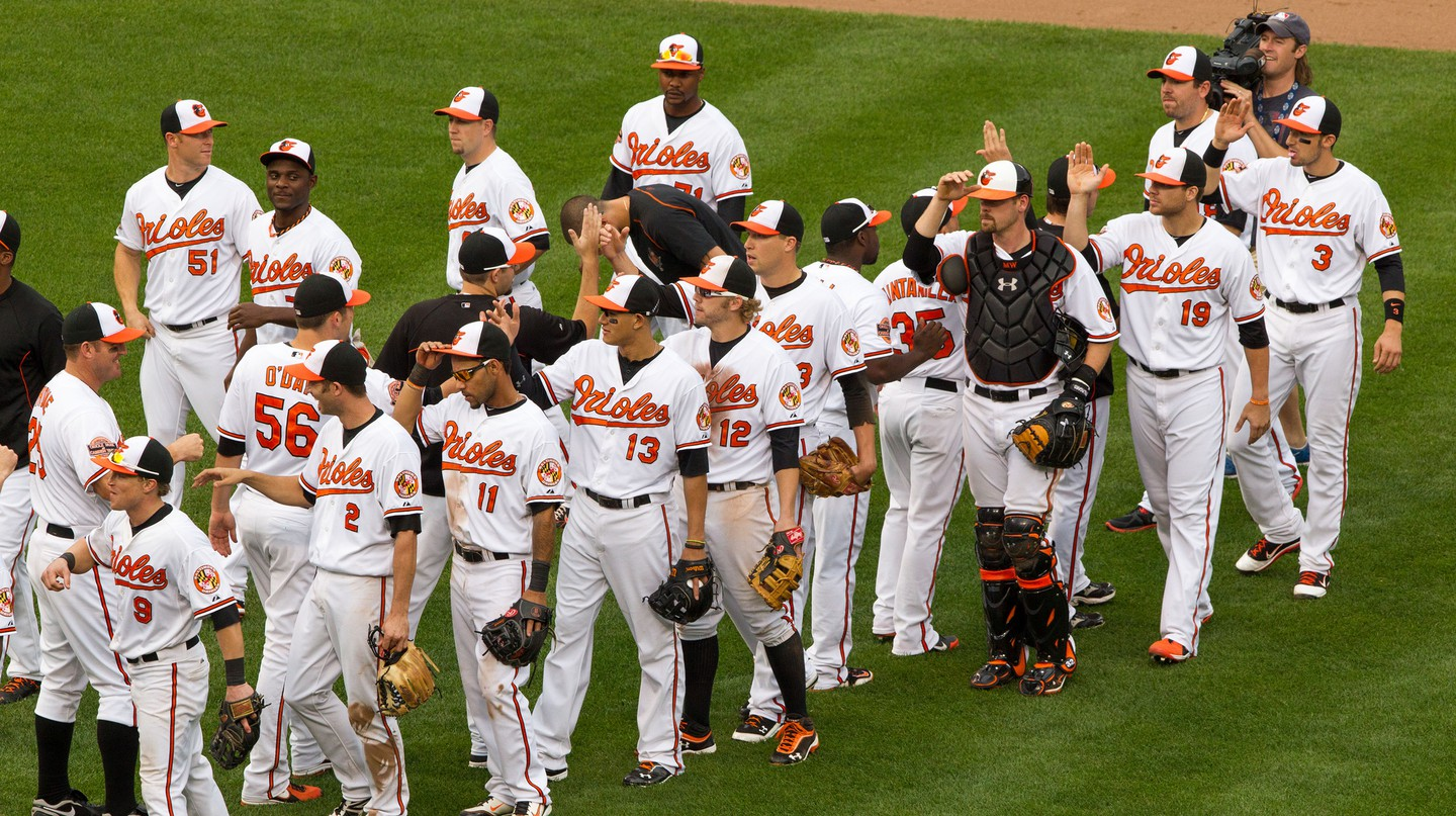 The Baltimore Orioles in their regular uniforms.