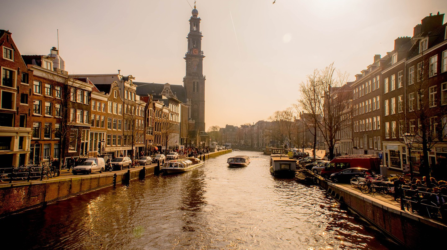 Prinsengracht canal and Westerkerk in Amsterdam
