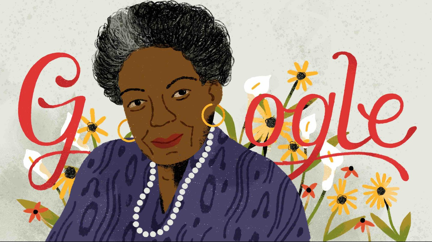 A Doodle celebrating Dr Maya Angelou's 90th Birthday