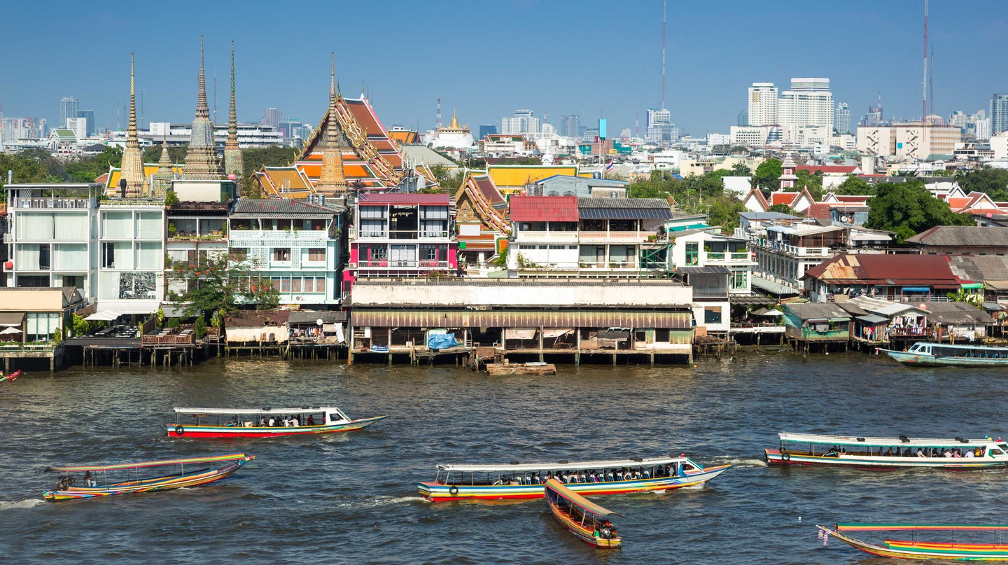 River side city of Bangkok, Thailand.