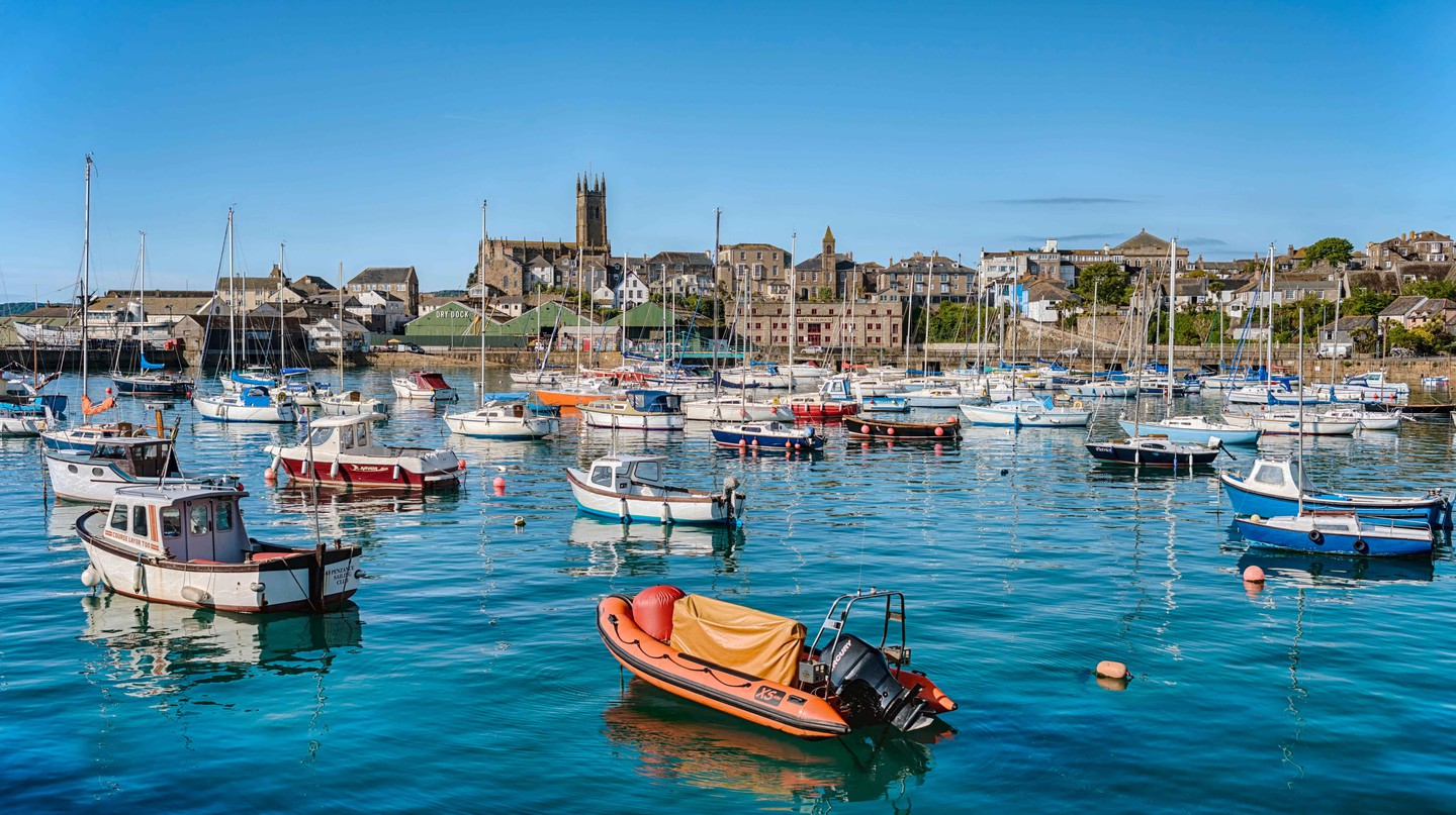 View over the harbour of Penzance in Cornwall, England