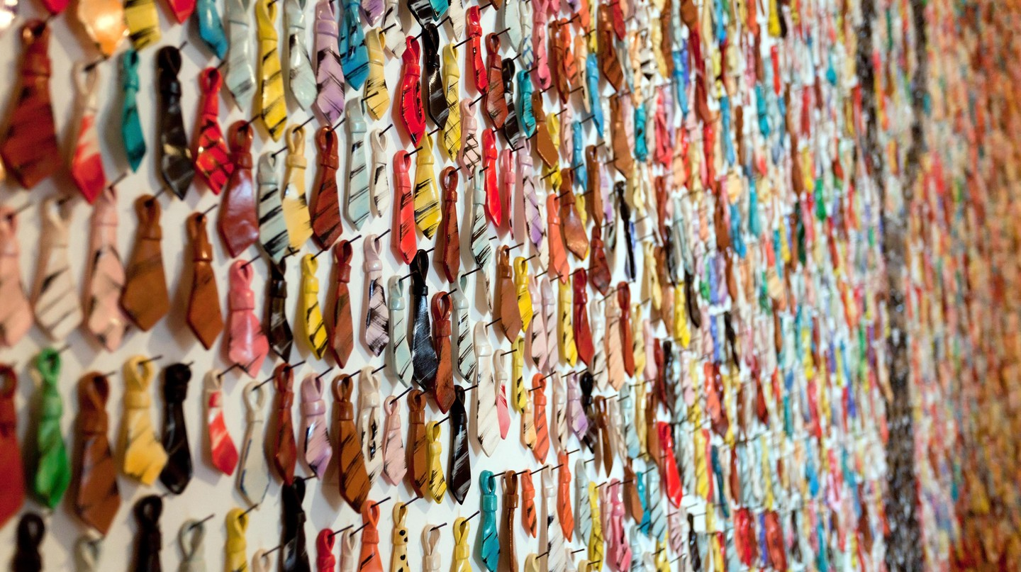 Many small necktie souvenirs in a shop in Croatia