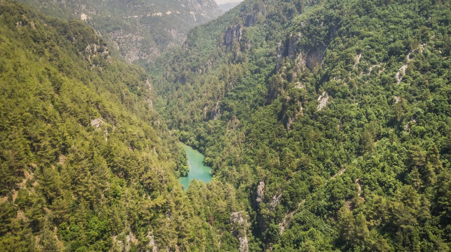 Aerial view of Chouwen Lake in Chouaneh in Lebanon