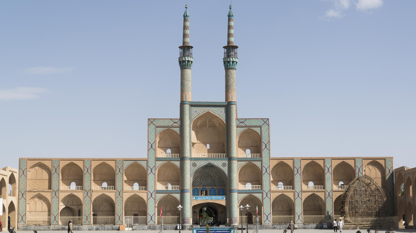 The Amir Chakhmaq Complex in Yazd, Iran, noted for its symmetrical sunken alcoves