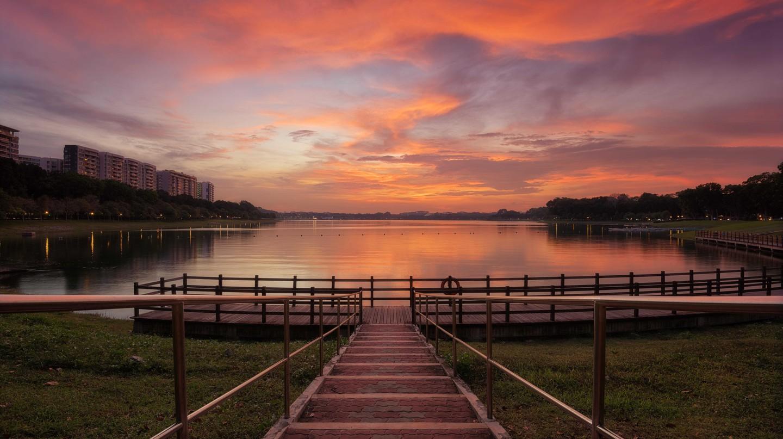 A beautiful sunset view of Changi Beach