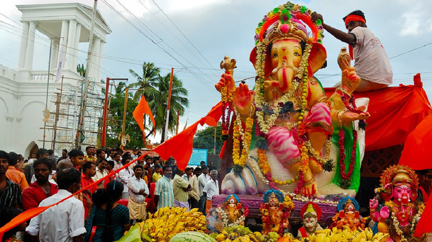 On the last day of Ganesh Chaturthi, the idol is taken on a procession through the streets, riding with joyous worshippers