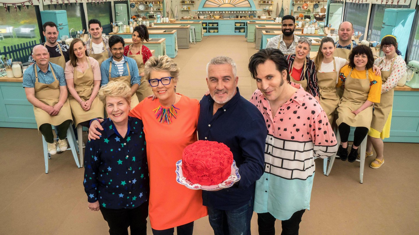 Great British Bake Off judges and presenters (left to right) Sandi Toksvig, Prue Leith, Paul Hollywood and Noel Fielding with 2018's contestants