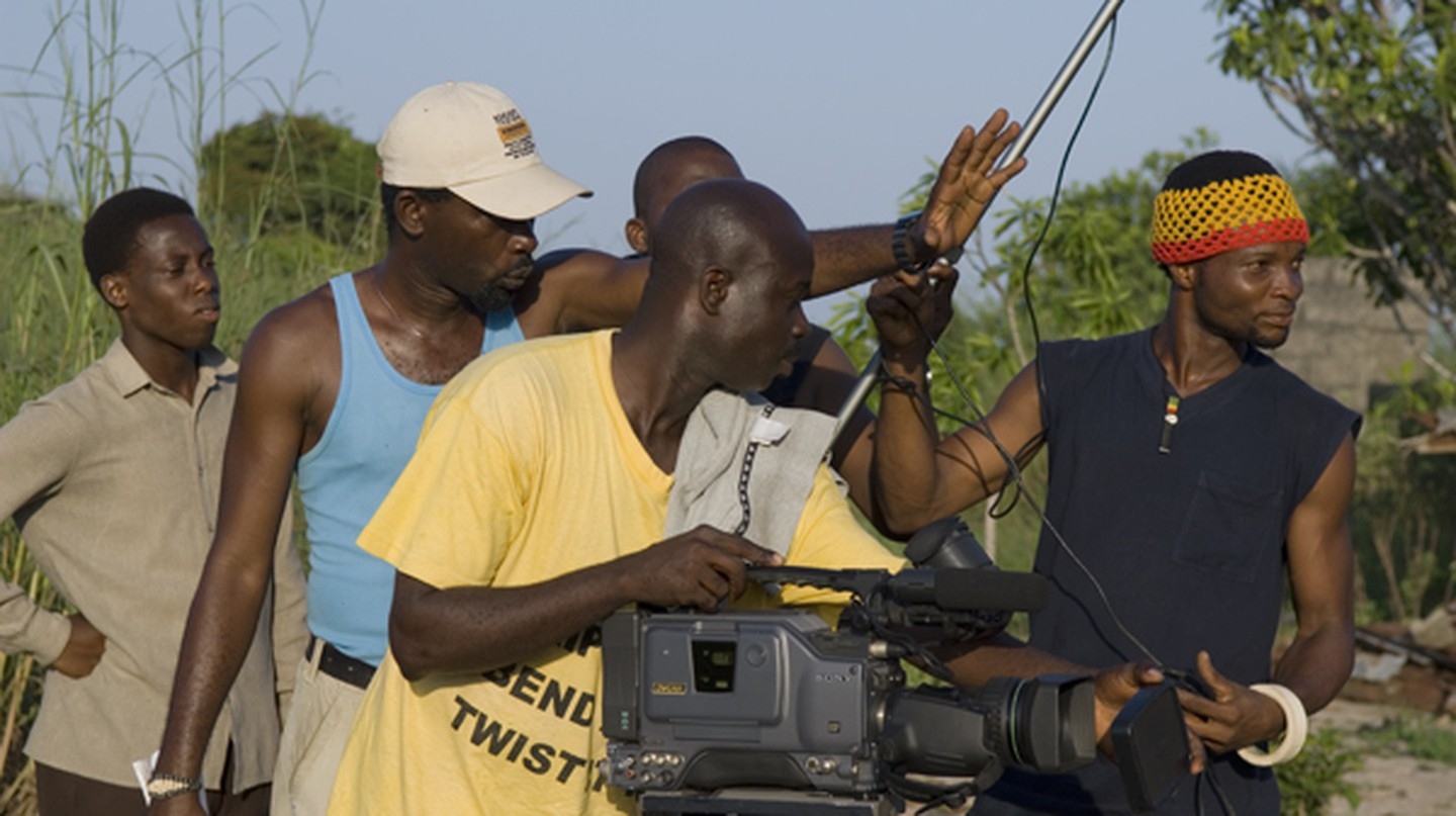Film crew on a Nollywood movie set