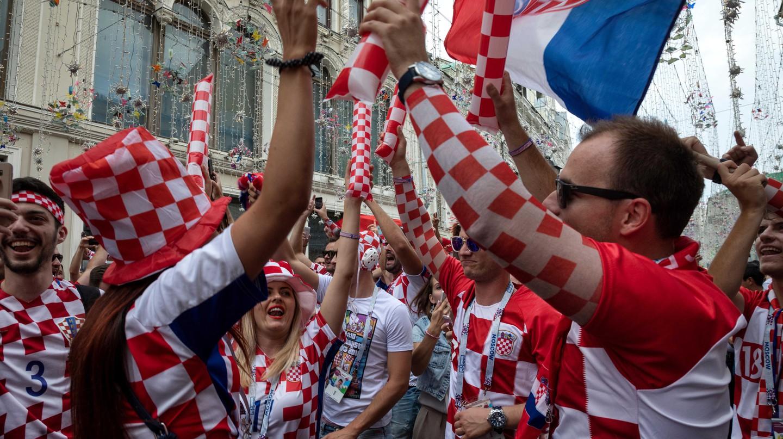Croatian football fans cheer