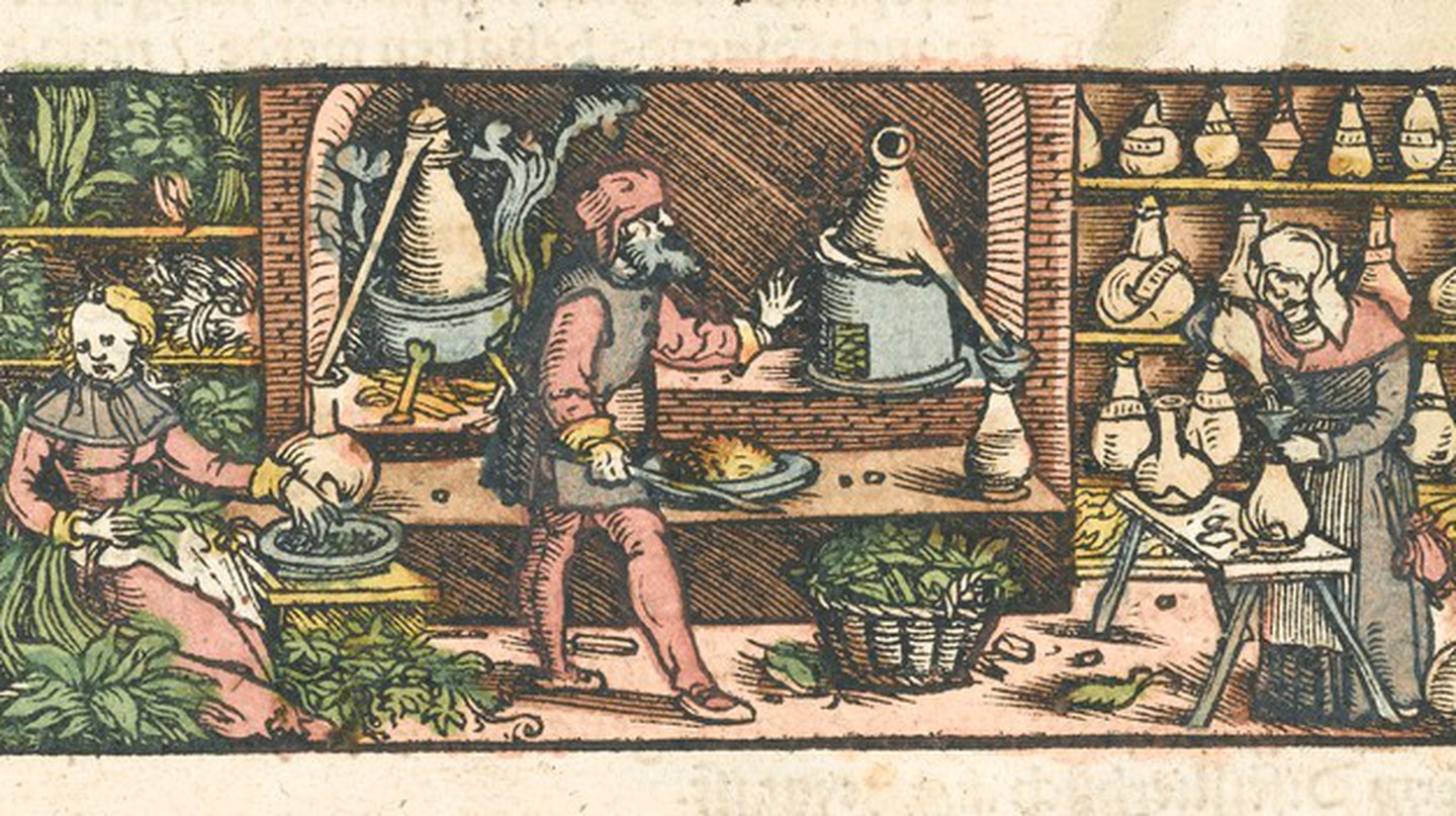 Women and men take part in distilling medicines c.1550
