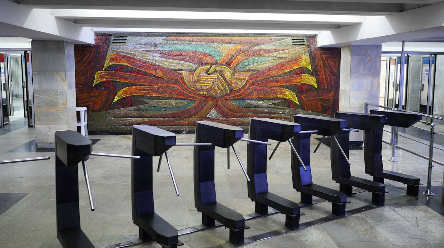 Colourful mosaics such as this one are commonplace in the Tashkent underground.